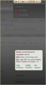 following 105, 1653 followers and still 22 updates...