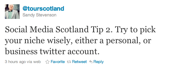 Social Media Scotland Tip 2. Try to pick your niche wisely, either a personal, or business twitter account.