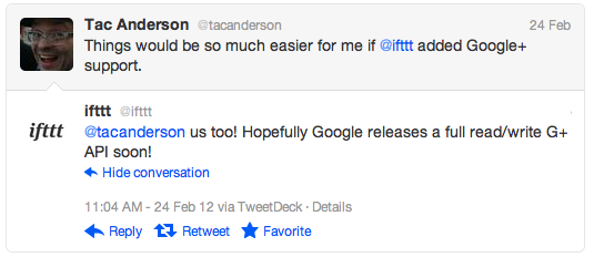 Tac Anderson says things would be easier if ifttt had Google+ support